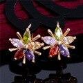 Горячие 1 пара Позолоченный Многоцветный Цветок CZ Кубический Цирконий Хооп Серьги Женщины Свадебные Серьги