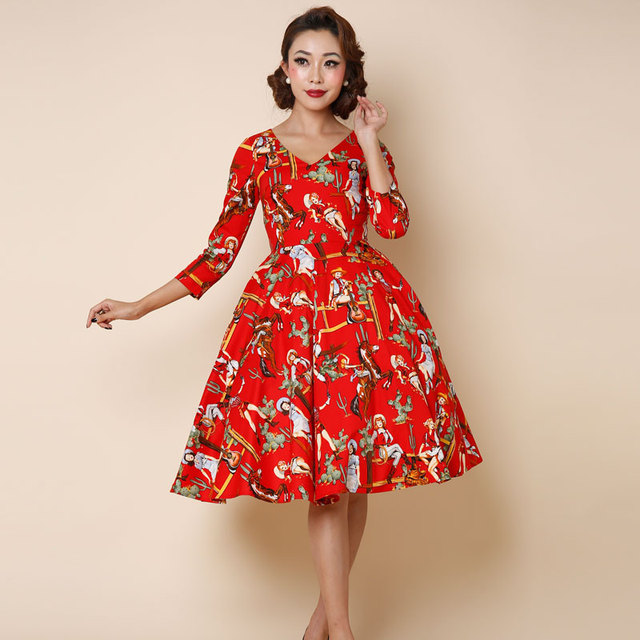 c2a1c7aad64 0273-1950s pinup retro Audrey Hepburn vintage rockabilly women s fashion  sleeve swing dress in red western lady