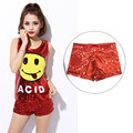 M-XXL Women Stage Shorts Sequined Sexy Short Pants Girl Hip Hop clothing Female Costumes Shorts jazz Dance Down Big Size