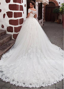 Image 3 - Attractive Tulle Off the shoulder Neckline Ball Gown Wedding Dress With Lace Appliques Short Sleeves Bridal Dresses