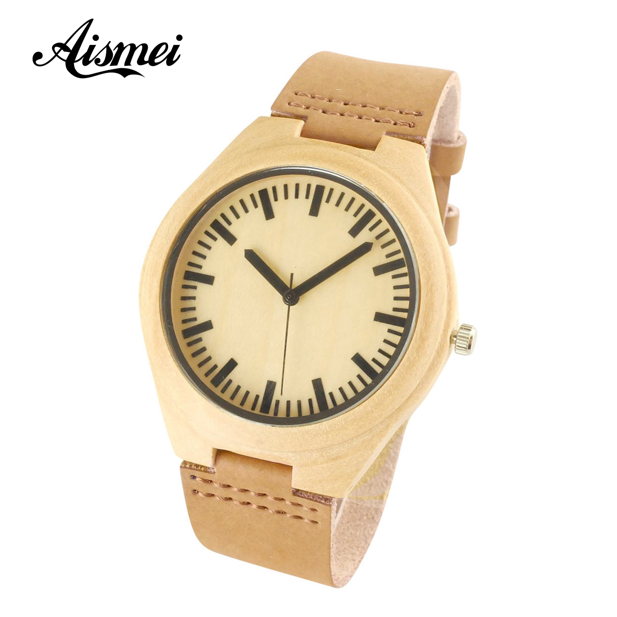 цены 2018 Wooden Watch Women Men Vintage Leather Quartz Wood Dress Watch male Clock New Luxury Genuine Leather Strap Wristwatches