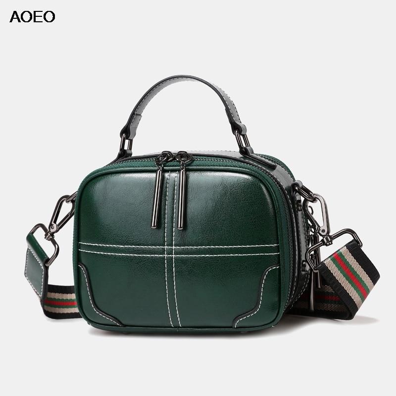 AOEO Womens Shoulder Bag Luxury Wide Strap New Design Woman Crossbody Bag 2019 Split Leather Female