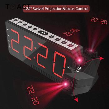 Reloj despertador de proyección Digital FM Radio repetición y temporizador Mesa Relojes de pared temperatura pantalla LED Cable de carga USB