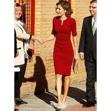 ef8cb6d40f40 Più il Formato Kate Middleton Scollo A V Manica Corta Vestito Aderente Donne  Elegante Veste Femme Sottile