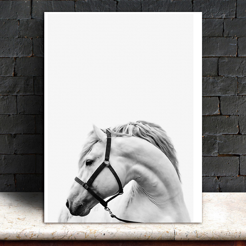 Us 4 06 40 Off Horse Paintings Black White Horses Canvas Wall Art Modern Minimalist Steed Pictures Horse Photos Home Living Office Wall Decor In