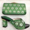 Zapatos Africanos Y Bolso de última Moda Conjuntos Con Diamantes de Imitación de Tacón Bombas Buena Calidad Zapatos Italianos Con Bolsos Conjunto TT06
