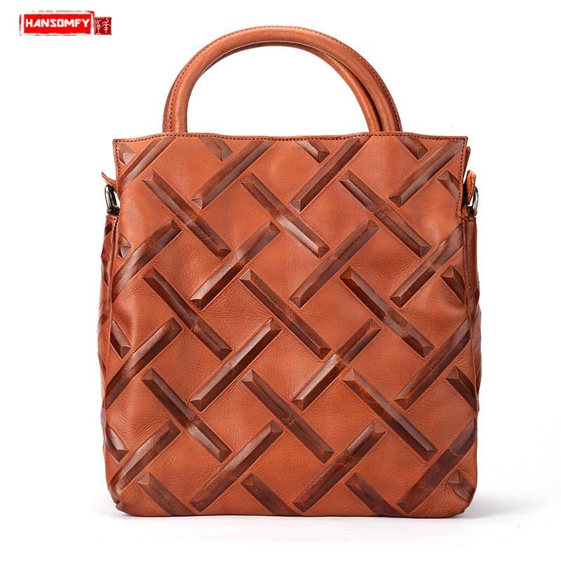 HANSOMFY винтажные женские сумки первый слой из воловьей кожи женская сумка на плечо женская кожаная сумка растительного дубления