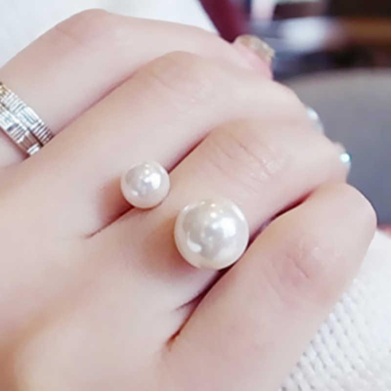 2018 חדש עזיבות חמות אופנה נשים של טבעת רחוב לירות אביזרי חיקוי פרל גודל מתכוונן טבעת פתיחת נשים תכשיטים