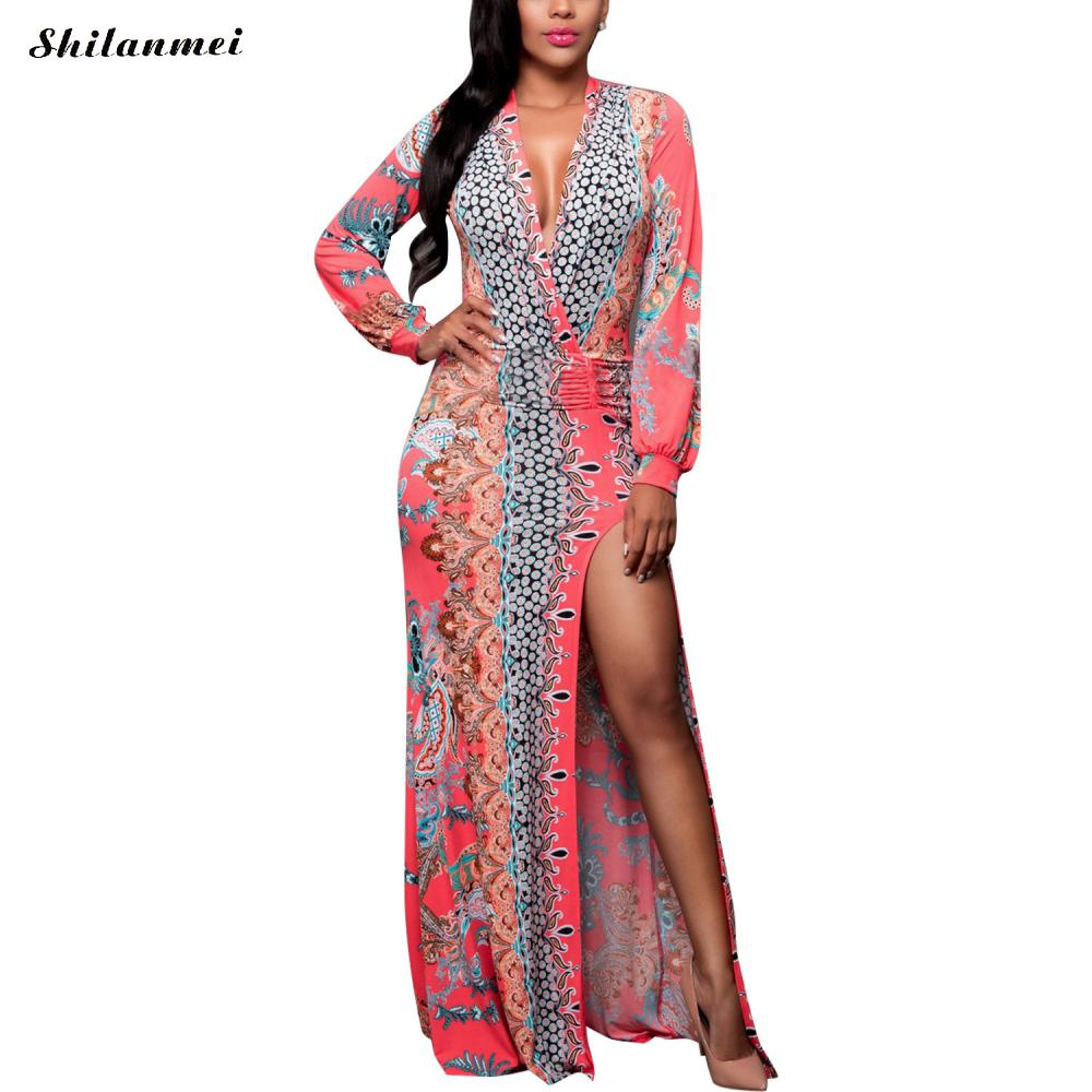 Fashion Long Sleeve Floral Printed Woman Sexy Chiffon Floor Length Dress Plus Size 4XL 5Xl Slim Female Bodycon Side Slit Dresses