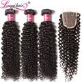 Brazilian Virgin Hair With Closure Curly Human Hair with Closure Lace Closure with Bundles 4pcs Brazilian Hair Aliexpress Longqi