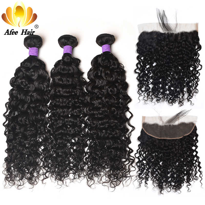 Ali afee Hair Brazilian Water Wave Bundles With Frontal 13*4 Swiss Lace Remy Hair Weave Bundles Deals 100% Human Hair