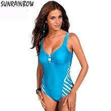 SUNRAINBOW 2017 Plus Size Swimwear New Summer Beachwear Women One Piece Swimsuit Swim Suit Print Stripe Vintage Suits Swim XL