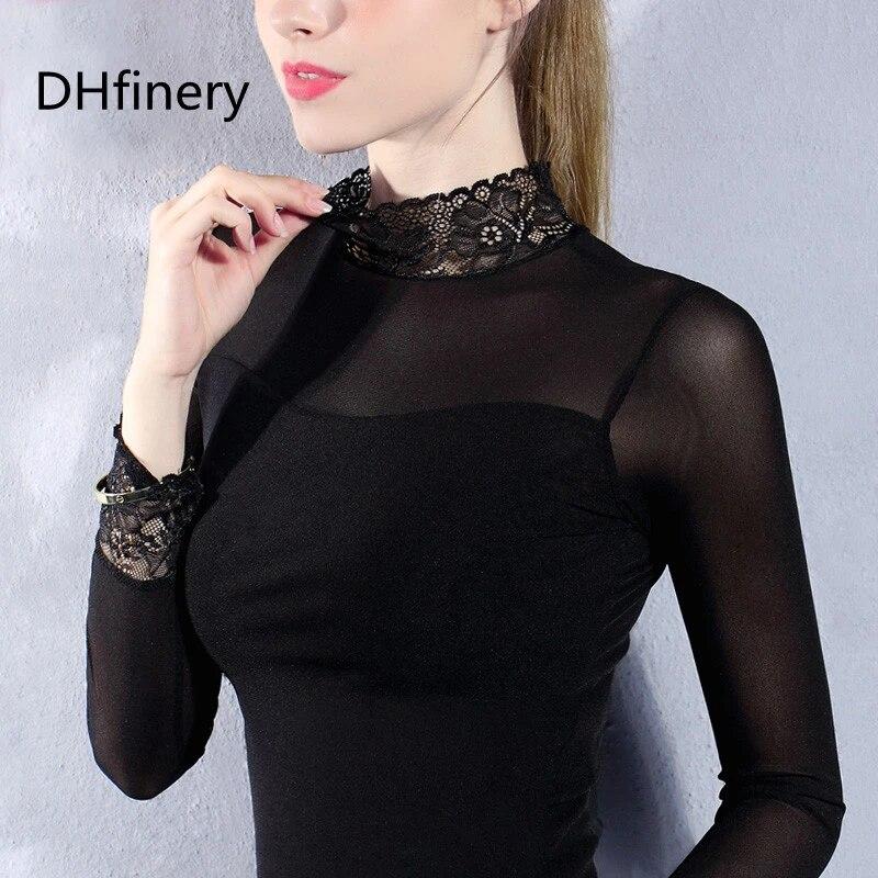 mode tendances maille femmes a manches longues hauts sexy transparent col haut noir dentelle fond chemises punk chic t shirt xxxl