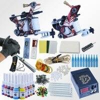 Professional 1 Set Equipment Dual Machine 20 Color Tattoo Machine Set 2 Gun Power Supply Cord Kit Body Tattoo Beginner Kit