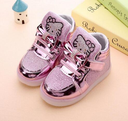 Shoes Girls Kids Led Kitty Cat Diamond Princess Sports Cartoon Lights Sneakers