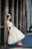 Vintage Cap Sleeve Sweetheart Short Wedding Dresses Tea Length 2014 New Lace Wedding Gown