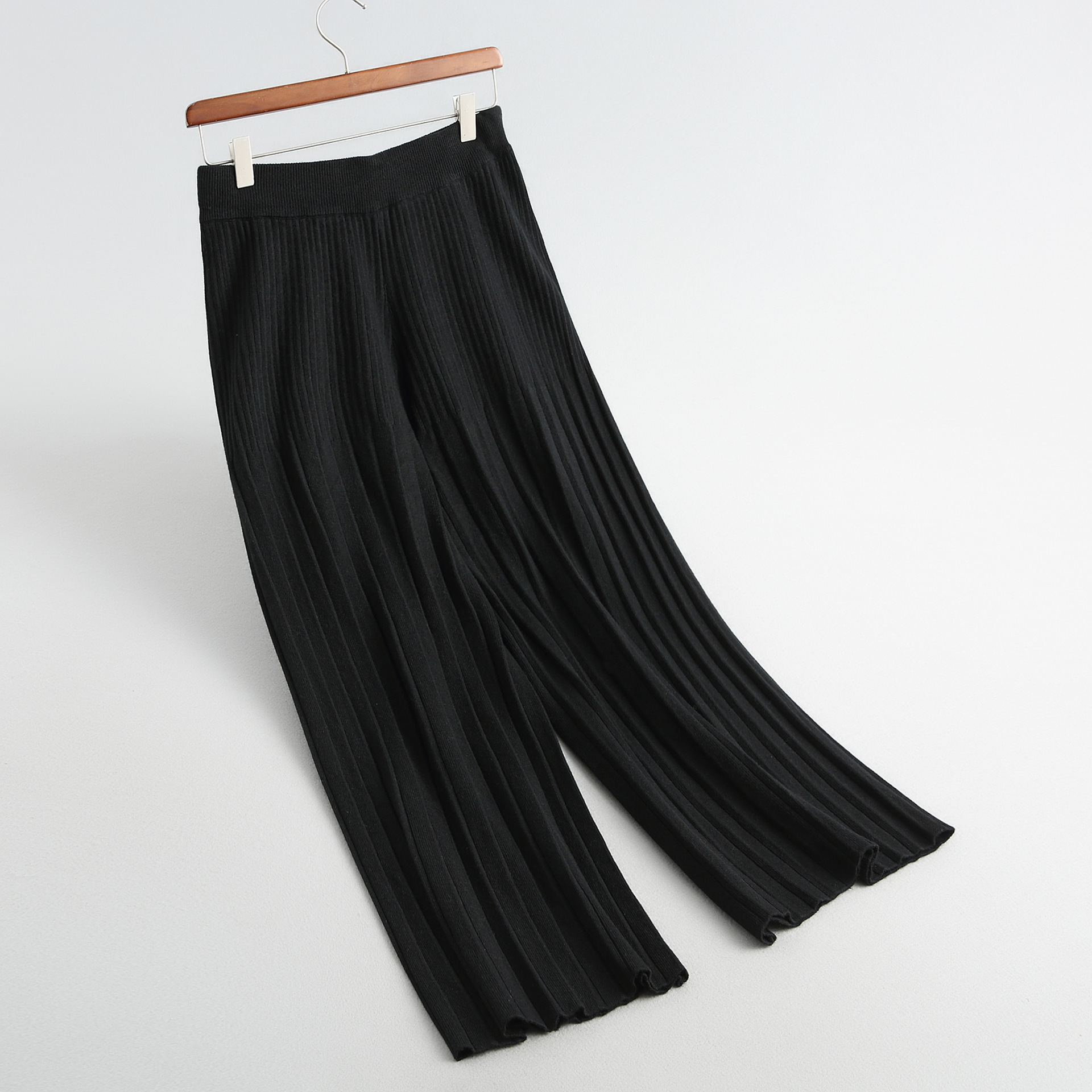 black Good Legged Thin Tall Beige coral Waist Pants gray 2018 Winter Pant Legs Wide Knitting Pleated yellow Show New Feeling Red 8xqPFaq