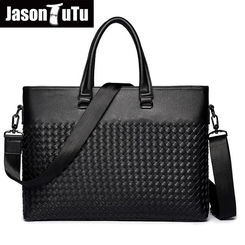 JASON TUTU Brand Design Knitting Handbags Leather Bag Men Messenger Bags Lawyer man Laptop briefcase Tote bag shoulder bags B391 women shoulder bags leather handbags shell crossbody bag brand design small single messenger bolsa tote sweet fashion style