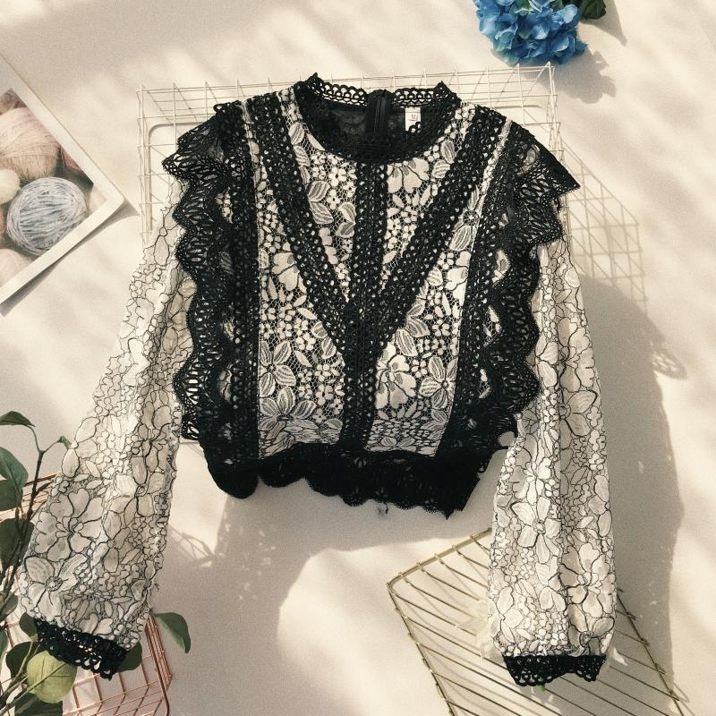 MUMUZI brand court wind stand collar lace   blouse   hollow out crochet wavy lace long sleeve   blouses     shirt   spring   shirt   autumn