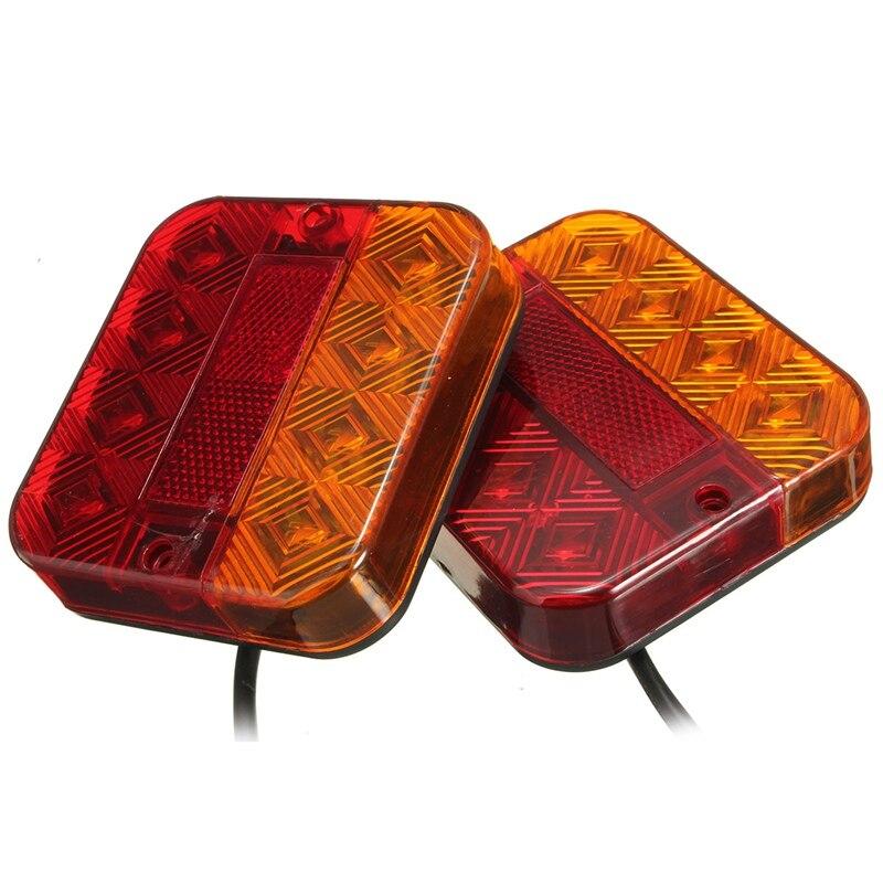 2Pcs 8 LEDS Car Truck Rear Tail Light Warning Lights Rear Lamps Waterproof Tailights Rear Parts for Trailer Truck Boat 2pcs truck light 4 leds lamp