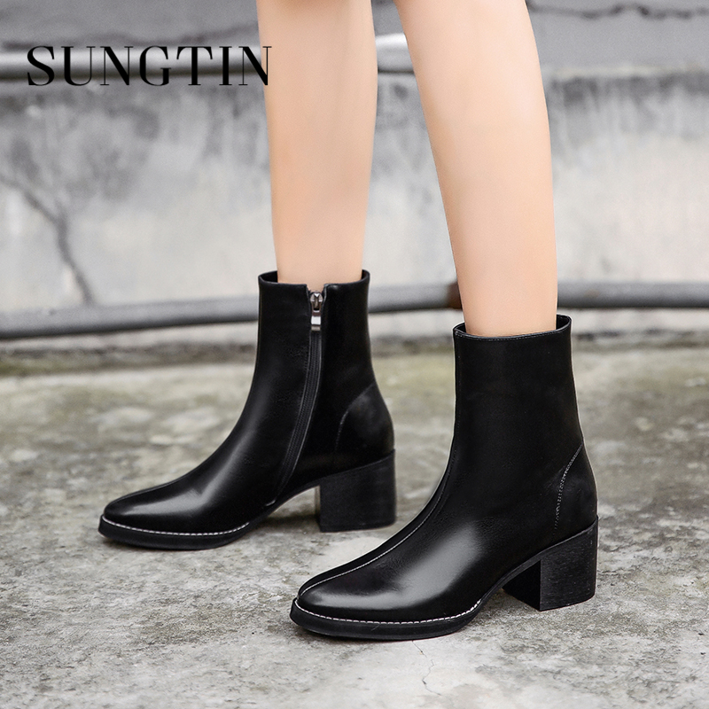 Sungtin Autumn Genuine Leather Riding Boots Winter New Warm Short Boots Black High Heel Women Ankle Boots Ladies Casual Booties цена 2017