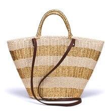 60490139e444 Тканые Сумка ручной соломы вязать пляжные сумки мешок ведро Лето Золото  Серебро в полоску женские сумки плетеные большая корзина.