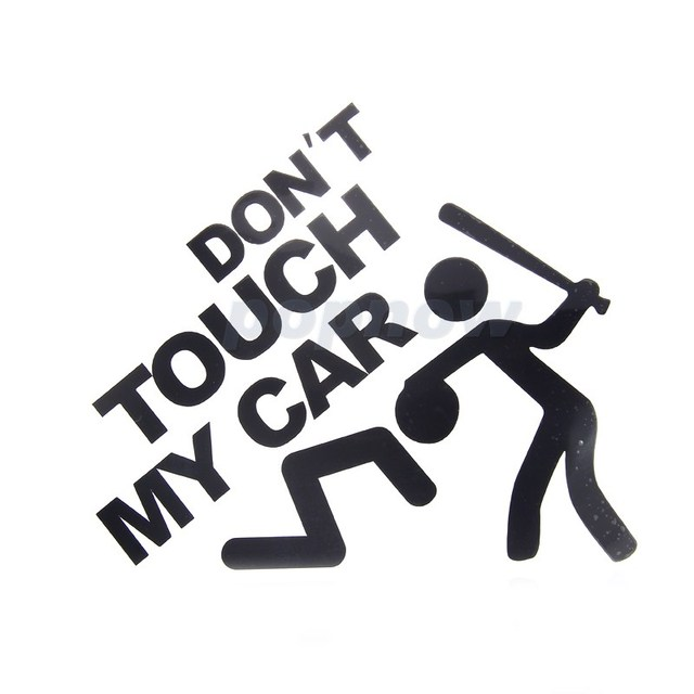 Black white dont touch my car logo sticker funny car body rear window