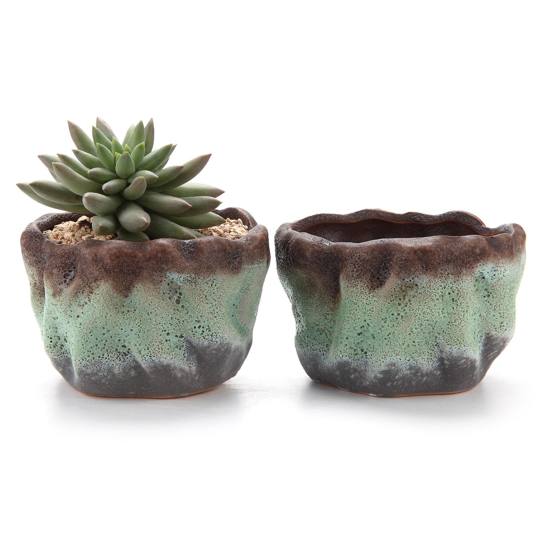 T4U 4.25Air Bubble Glaze Square Sucuulent Cactus Plant Pots Flower Pots Planters Containers Window Boxes Green 1 pack of 2