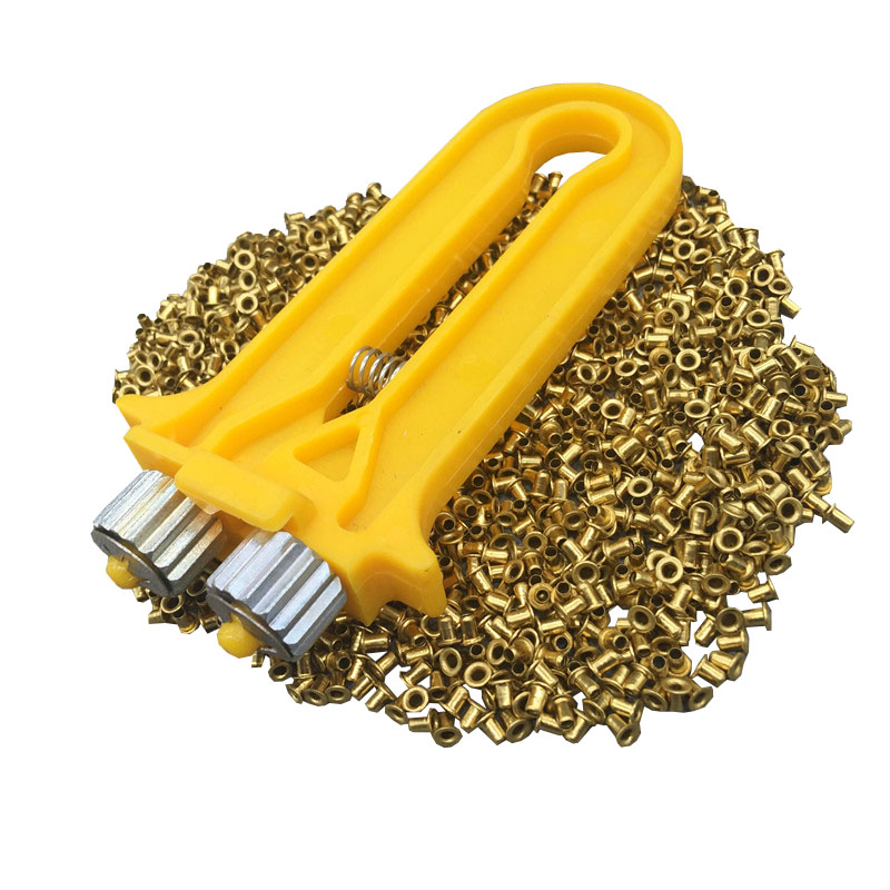 Bee Combo Tool Approx 1000 Pcs Beekeeping Brass Eyelet + Tensioner Crimp Wax Hive Frame Hive Bee Keeper Tool 50% Copper Content