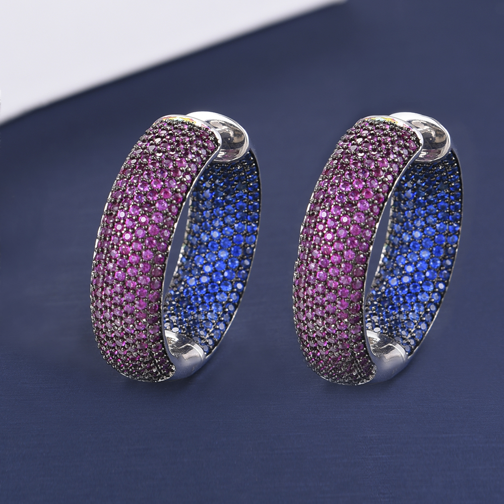 Image 4 - missvikki Chic Exquisite Professional Womens Jewelry Earrings Dense Crystal Multicolor CZ Office Style 3 Colors Top QualityHoop Earrings   -