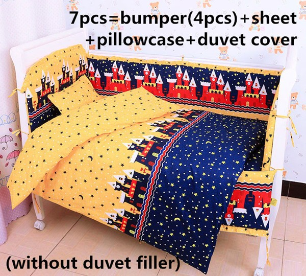 ФОТО discount! 6/7pcs baby crib bedding set baby bumper fitted 100% cotton cot bedding ,120*60/120*70cm