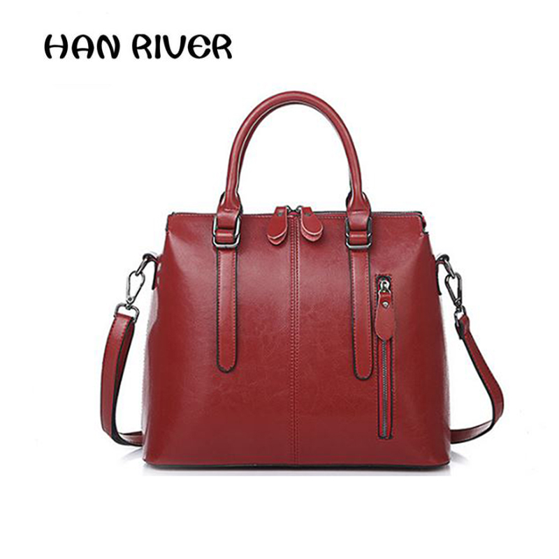 New 2017 Fashion Brand Genuine leather Women Handbag Europe and America Oil Wax Leather Shoulder Bag Casual Women Bag new 2016 fashion brand genuine leather women handbag europe and america shoulder bag casual women bag page 5