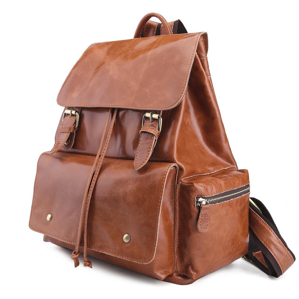 2017 Handmade Genuine Leather School Backpack for Teenage Girls Vintage Stylish Ladies Drawstring 14 inch Laptop Backpack 2017 tiding genuine leather school backpack for teenage girls vintage stylish ladies drawstring 14 inch laptop backpack 2017