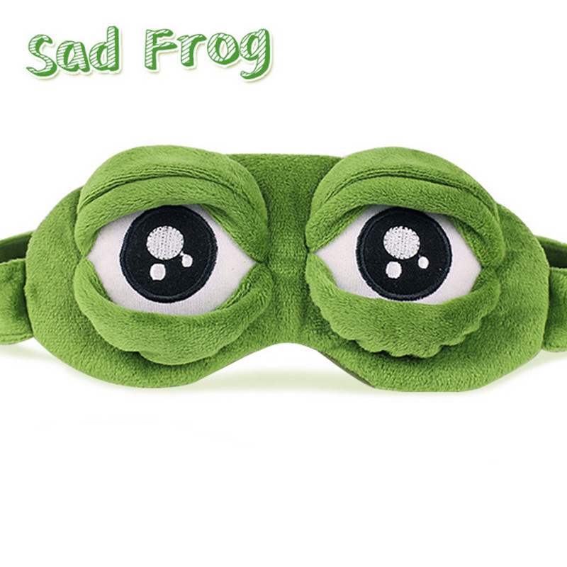 3D Sad Frog Sleep Mask Rest Travel Relax Sleeping Aid Blindfold Ice Cover Eye Patch Sleeping Mask Case Anime Cosplay Costumes