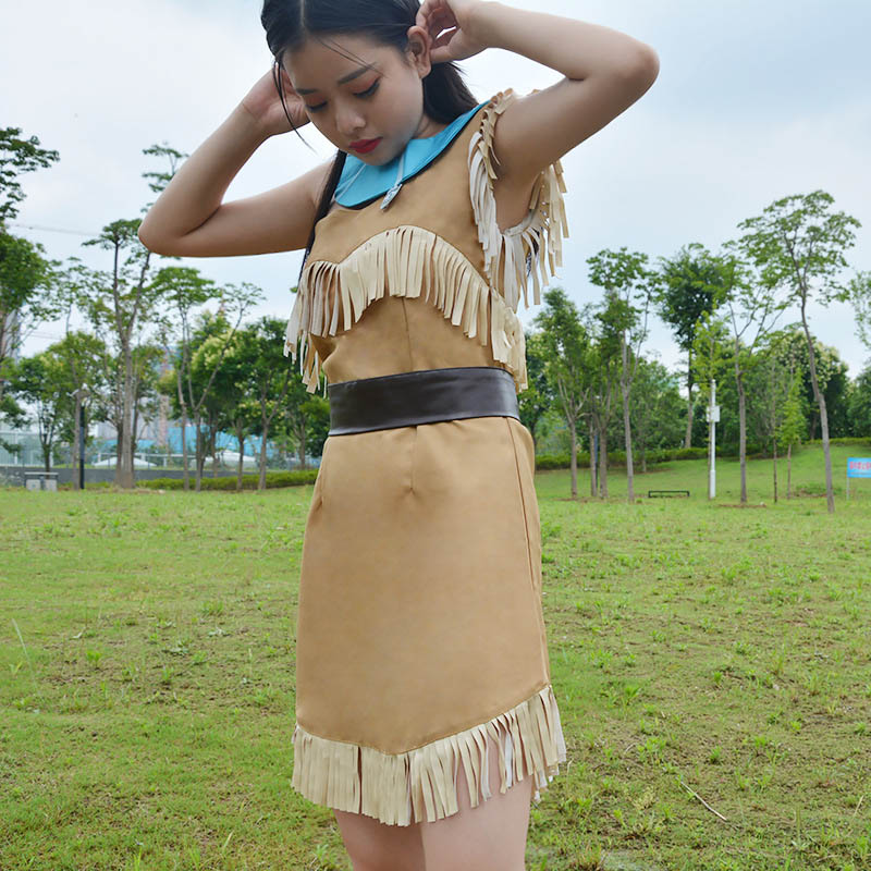 Image 5 - Girls Bueaty Princess Pocahontas Indian Cosplay Costume Halloween Outfit Adult Women gift  Dress Belt Necklace Full set and wig-in Movie & TV costumes from Novelty & Special Use