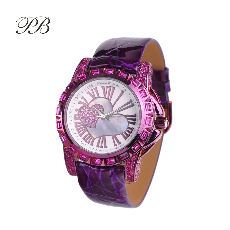 New Arrival Famous PB Brand Princess Butterfly Element Crystal Watch Young Girl Fashion Love Heart Rhinestone Watch