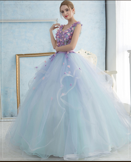 100%real studio light blue violet embroidery flowers fairy ball gown ...