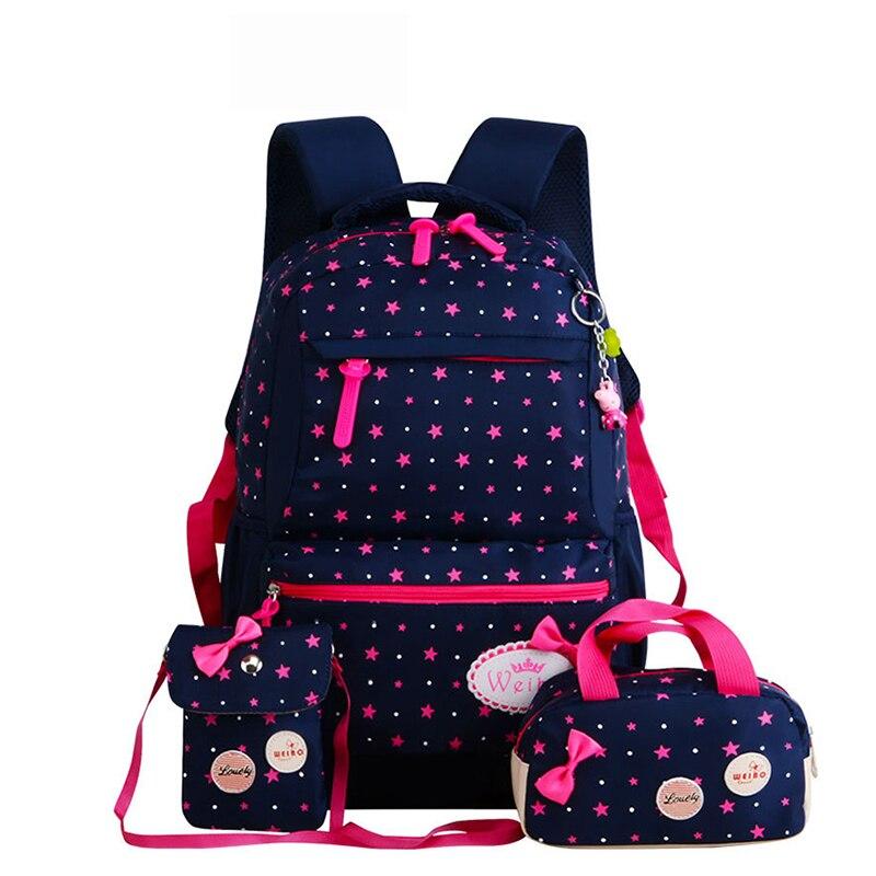 Новые 3 шт/комплект рюкзак для девочек школьные сумки для подростков рюкзак Комплект плеча женщин Дорожные сумки mochila ранец Q2