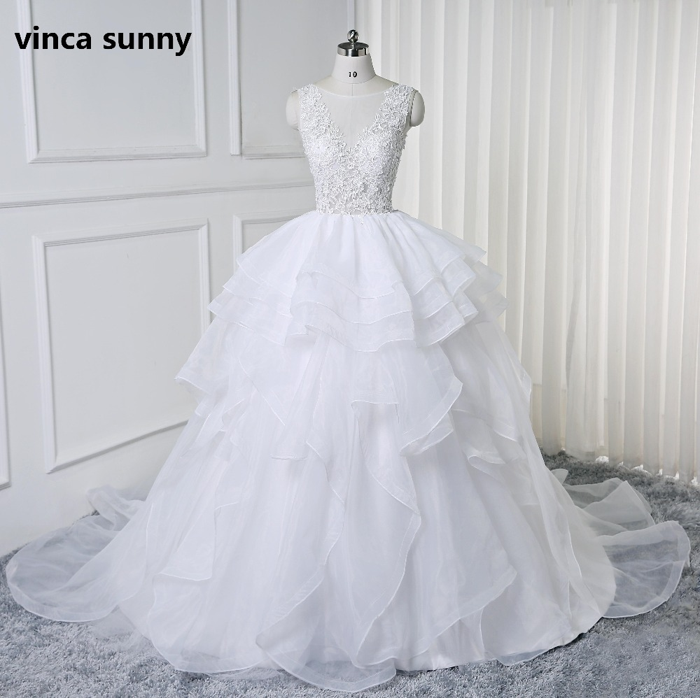 2019 Wedding Ball Gowns: Vinca Sunny 2019 Backless Wedding Dresses With Pleated