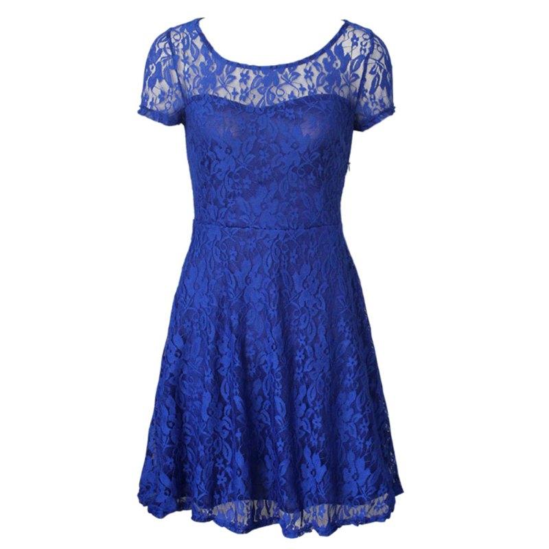 женские цветочные кружева платья короткий рукав повседневная и праздничная цвет синего, красного, черного цвета мини-платье