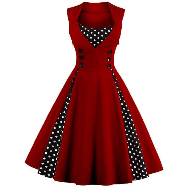 Sexy Vintage Dress S-5XL Женщины 50 s Точка Элегантный Лето Лоскутное Ретро Dress Случайный Вечер Рукавов Лоскутная Рокабилли