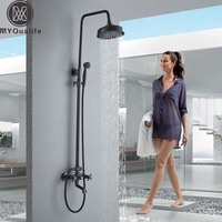 Black Bronze Shower Faucet Set Dual Handle Shower Mixer Wall Mount Rainfall Shower System 8 Brass Showerhead and Handshower