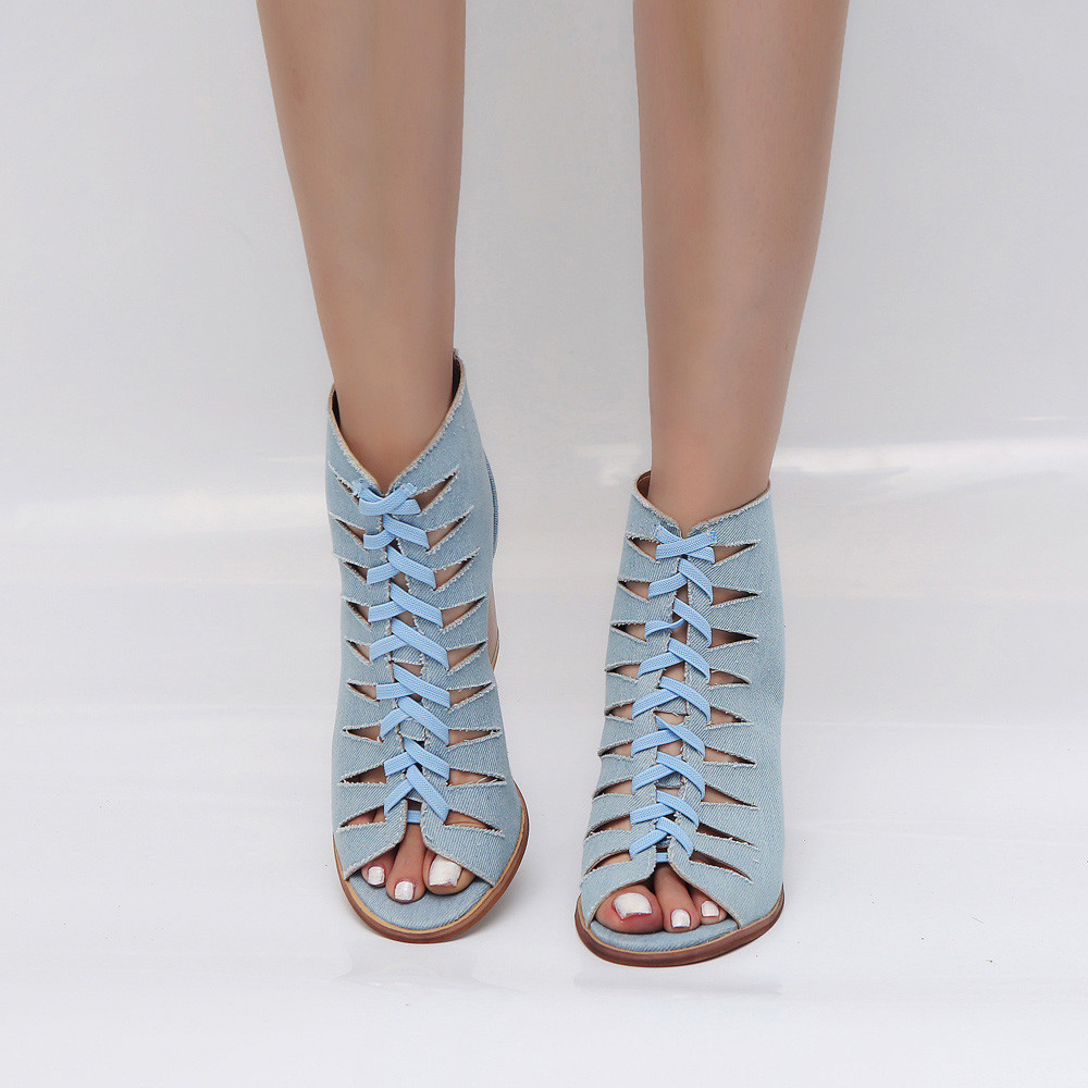 Denim sexy fish mouth hollow Roman sandals thick with a word with beaded high heels female summer Sexy female sandals poadisfoo 2017 summer style women sandals new section with a sexy open toe simple roman word buckle sandals wcf 7029