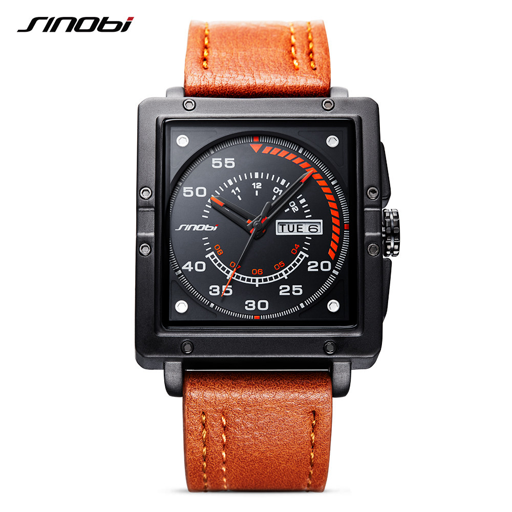 SINOBI Luxury Brand Men's Sport Quartz Watch Calendar Leather Clock Business watch Self Wind Fashion watches Free shipping 2018 old antique bronze doctor who theme quartz pendant pocket watch with chain necklace free shipping