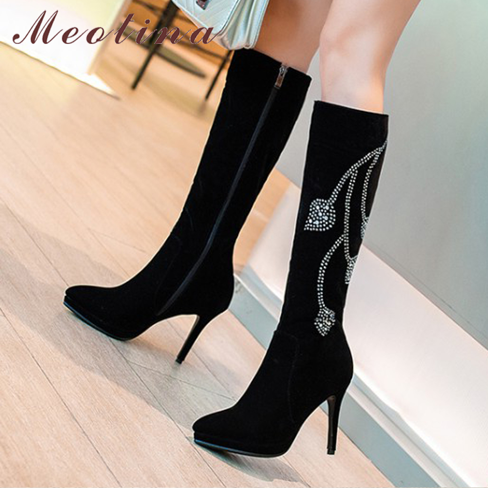 Meotina Knee High Boots Winter Platform High Heel Boots Pointed Toe Fashion Shoes Crystal Flower Long Boots Zipper Black 42 43