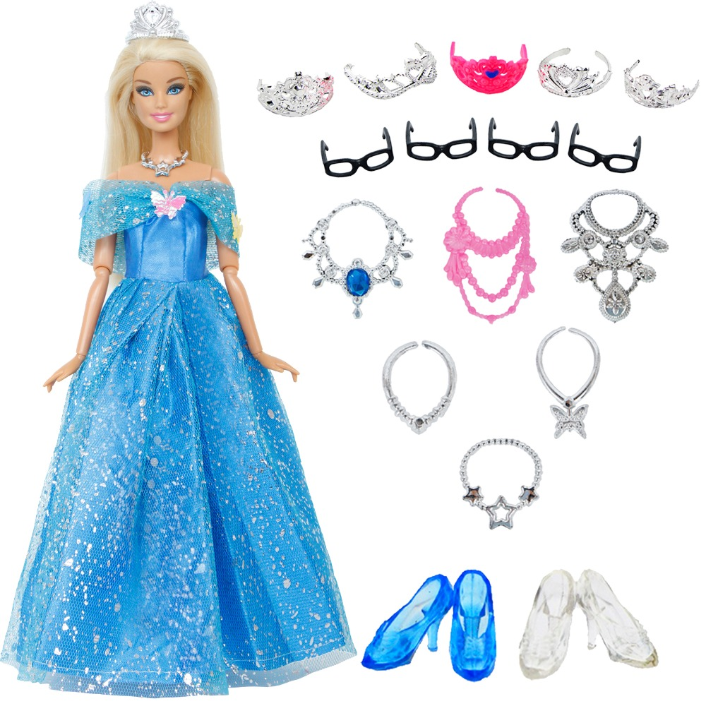 18 Items = 1x Wedding Party Dress + 6x Necklaces + 5x Crowns + 2x Crystal Shoes + 4x Glasses Clothes For Barbie Doll Toy