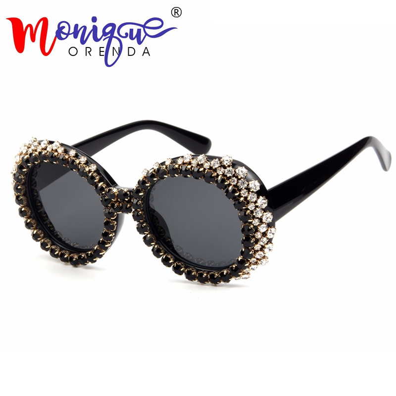 Newest designer brand luxury women Sunglasses 2018 Oval Rhinestone Sunglasses Fashion shades for women