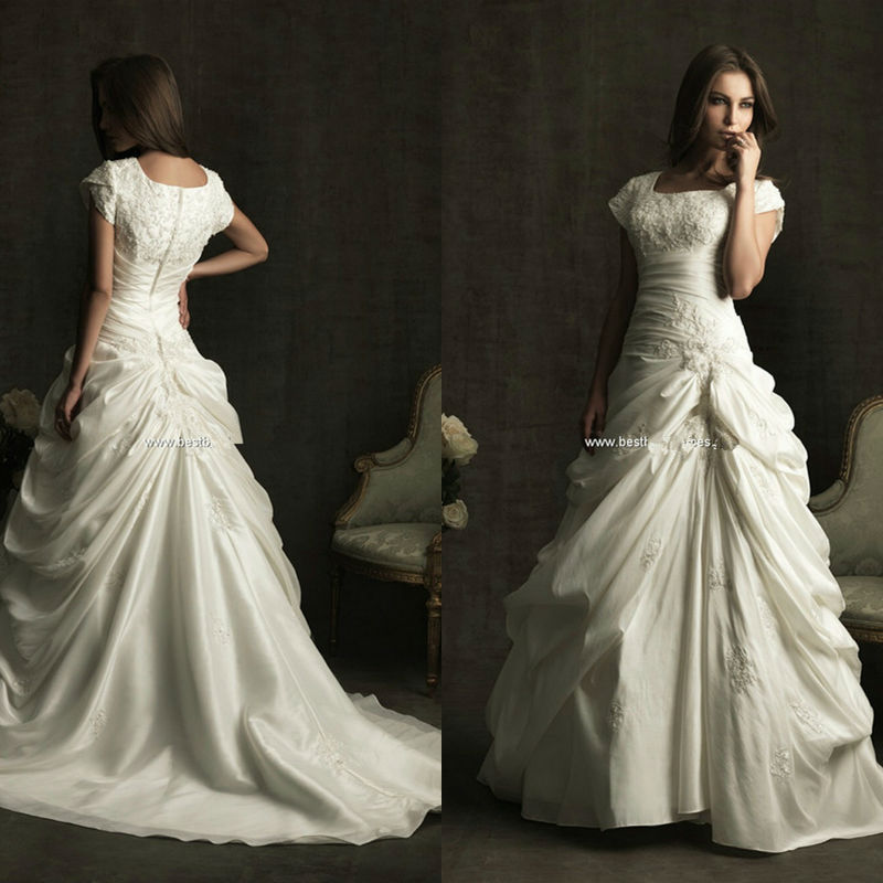 Beautiful Dresses To Wear To A Wedding: Square Neckline Chapel Train Pleat Plus Size Wedding Gowns