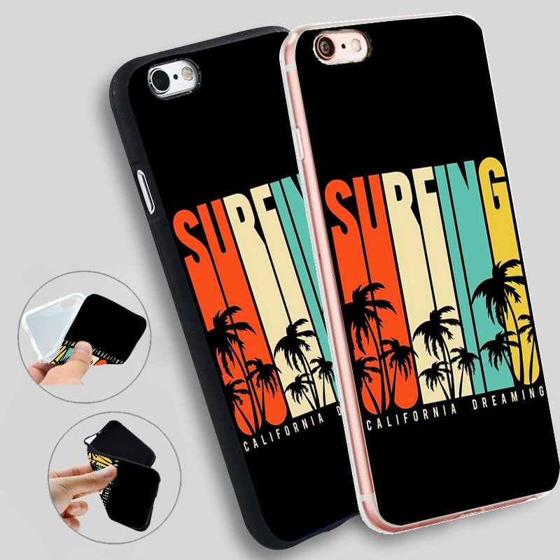 Surfing California Cases For iPhone 8 7 7Plus 5 5S XR XS Max SE Cases Silicone Soft Case For iPhone 6 s 6s 7 8 Plus X Cover