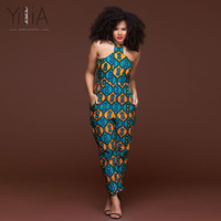 Yilia Womens Rompers Jumpsuit Summer 2018 Women African Print Clothing Sleeveless Halter Casual Sexy Fashion Party